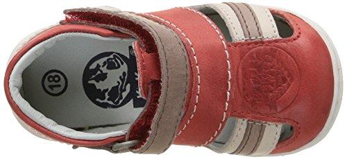 Kickers Glups - Zapatos de primeros pasos Bebé-Niñas Rojo - Rouge (Rouge/Beige)