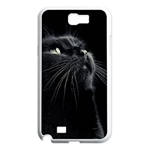 Qxhu black cat Hard Plastic Cover Case for Samsung Galaxy Note2 N7100