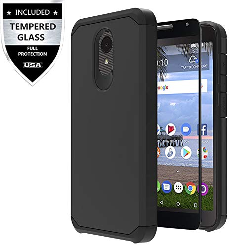 Mobile Phone Case Cover - Alcatel TCL LX Case, Alcatel Avalon V/Alcatel IdealXtra/Alcatel 1X Evolve Case with Tempered Glass Screen Protector,IDEA LINE Heavy Duty Protection Hybrid Hard Shockproof Slim Fit Cover - Black