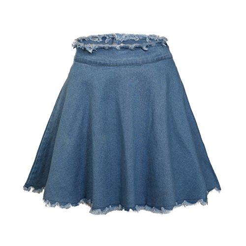 YOULIZI Classic Denim Jean Casual Basic Frayed Hem Faded Wash Mini Skirt (Small, Denim Blue)