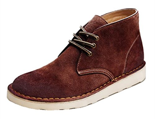 Desert TM Ankle HAPPYSHOP Boots Men's Martin Brown Chukka Boot Leather Real Boots Dark Boots SqadYqw