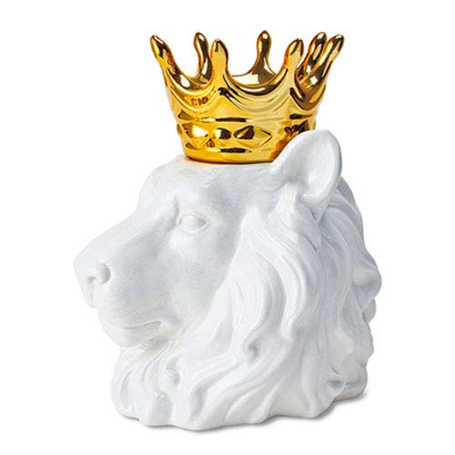 Ceramic King of The Forest Lion with Golden Crown Statue Sculpture Collectible Animal Figurine Home Furniture Desk Tabletop Centerpiece Home Decor Wedding Housewarming Birthday Gift (Lion)
