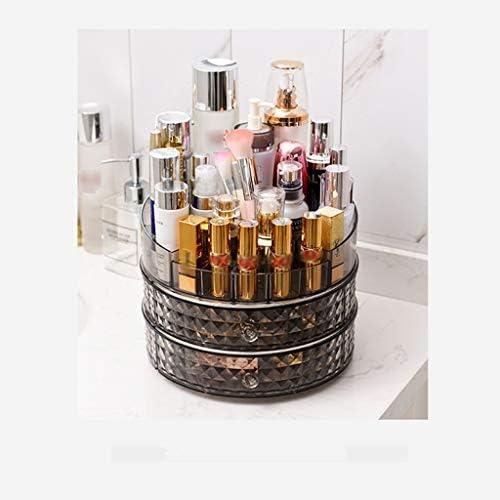 化粧品収納ボックス ロータリー化粧品収納ボックス分類棚スキンケア口紅収納ボックスプラスチックブラック透明 DSJSP (Color : Black)