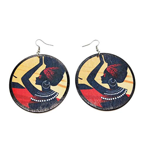 Eleusine 1 Pair Wooden Earrings DIY Printing African Multicolor Personalized Earrings for Woman Fashion Jewelry (Black)