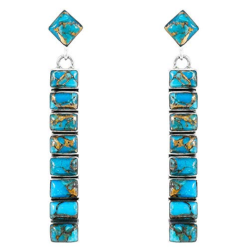 - Turquoise Earrings 925 Sterling Silver & Genuine Turquoise (Choose Color) (Teal/Matrix Turquoise)