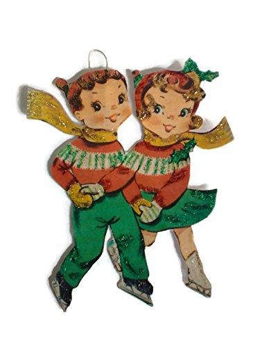 Skating Couple - Christmas Tree Ornament Decoration, Ice Skating Couple Handmade Gift