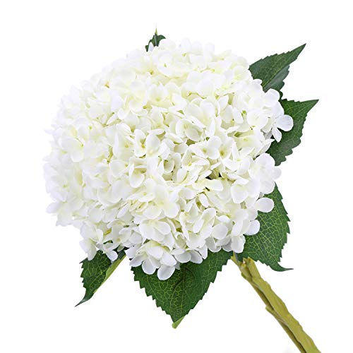 MeHelany Artificial Hydrangea Fake Handmade Silk Flowers Arrangement for Centerpiece Wedding Home Party Office Decoration,Pack of 3 (White)