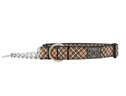 RC Pet Products 3/4-Inch Training Martingale Dog Collar, 9 to 14-Inch, Medium, Tan Tartan