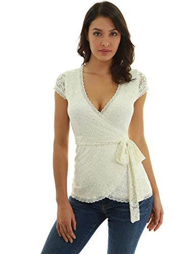 Lace Nylon Blouse - PattyBoutik Women Floral Lace Wrap Blouse (Ivory X-Small)
