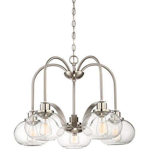 (Quoizel TRG5105BN Trilogy Glass Lantern Mini Chandelier, 5-Light, 500 Watts, Brushed Nickel (19