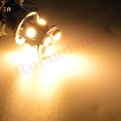 Ruiandsion 2pcs 1156 7506 BA15S 12V Super Bright 5050 8SMD Chipset LED Replacement Bulb for Reverse Light Turn Signal Light Tail Light,Non-polarity (Warm White): Automotive