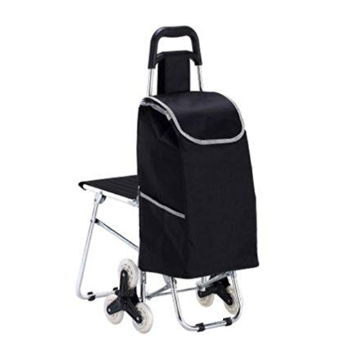 LUCKYYAN Mini Lightweight Aluminum alloy 6 Wheel Grocery Shopping Trolley Cart with Chairs , black ()