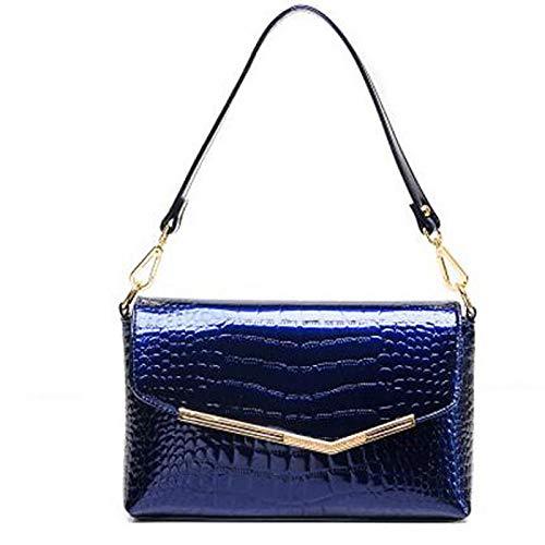 Patent main Blue Sequin Fourre Tout QZTG foncé À Red Shoulder Leather à Bags Capacité sac Grande Main De Sacs Black Bag Women's Dark Bleu w44OXq