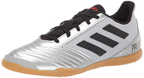 adidas Men's Predator 19.4 Indoor SALA Soccer Shoe, Silver Metallic/Black/hi-res red, 9 M US