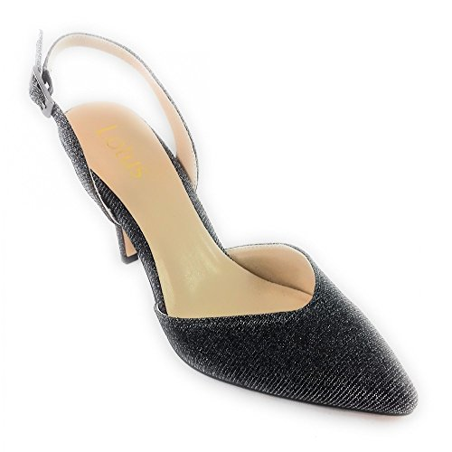 Lotus Yantic Pewter Shimmer Textile Sling-Back Court Shoe Pewter HlnGsYye0
