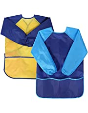 AvoDovA Kids Art Smock, 2 Pcs Kids Art Smock for Age 3-7 Years Girls And Boys, Waterproof Artist Painting Aprons Long Sleeve Protect Clothes with 3 Pockets for Painting, Cooking, Crafts, Clay