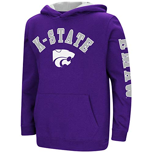 Colosseum NCAA Youth Boys-Crunch Time-Hoody Pullover-Kansas State Wildcats-Purple-Youth Large ()