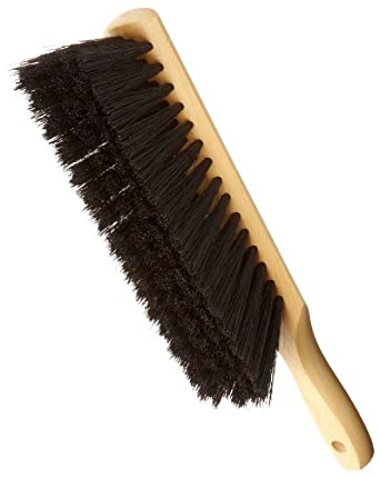 """Magnolia Brush 54-X Beaver Tail Counter Duster Brush with Hang Up Hole Handle, Horsehair/Plastic Bristles, 2-1/2"""" Trim, 13-1/2"""" Length, Black (Case of 12)"""
