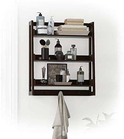 UTEX 3 Tier Bathroom Shelf Wall Mounted with Towel Hooks, Bathroom Organizer Shelf Over The Toilet Espresso