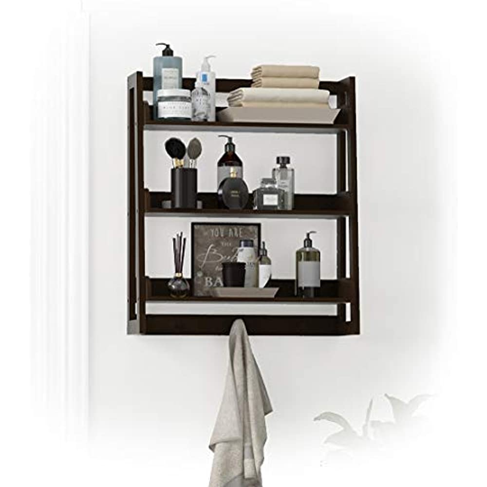 3 Tier Bathroom Shelf Wall Mounted With Towel Hooks Organizer Over The Toilet Ebay