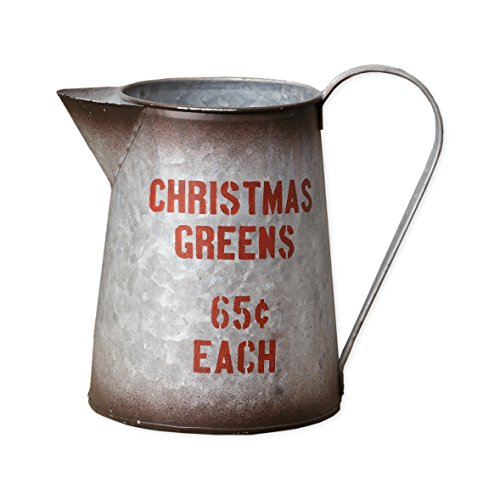 Christmas Tree Pitcher - Christmas Greens Pitcher 5 x 6.5 Inch Galvanized Steel Metal Flower Plant Vase