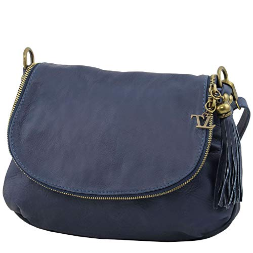 Azul con TLBag oscuro Bolso piel borla Leather oscuro suave Tuscany en Blue bandolera y v4SpYAq