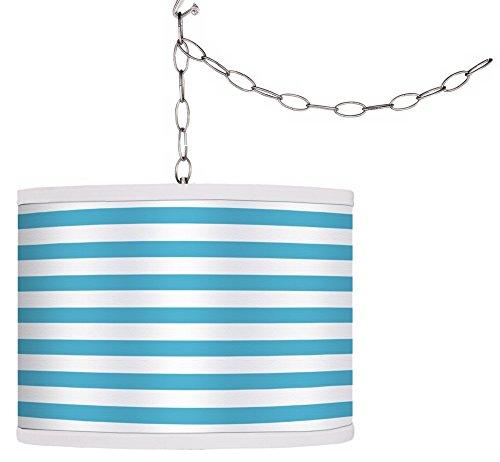 Swag Style Aqua Horizontal Stripe Shade Plug-in Chandelier (Horizontal Stripe Giclee Shade)