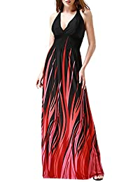Wantdo Women's Casual Low-cut V-neck Printed Beach Summer Long Maxi Dress