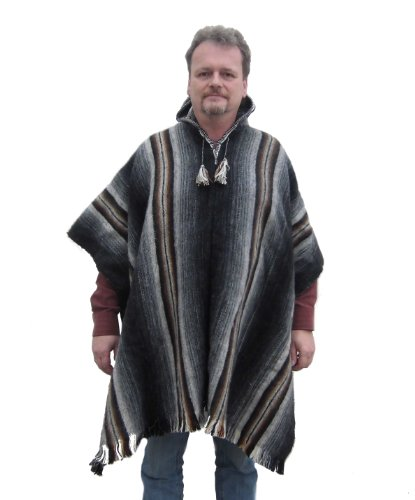 Alpakaandmore Men Peruvian Hooded Poncho Shaman Alpaca Wool Coat (Grey) - Peruvian Merino Wool