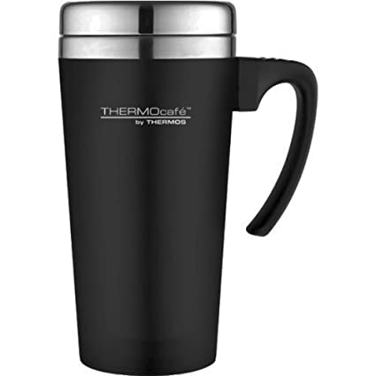 3bbb0dce80f Thermos ThermoCafé Soft Touch Travel Mug, Black, 420 ml: Amazon.co.uk:  Kitchen & Home