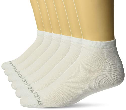 Fruit of the Loom Men's No Show 6 Pack Sock, White, Shoe Size: 6-12