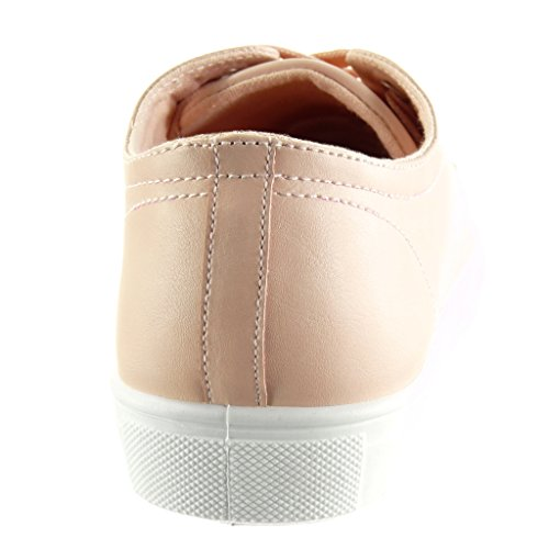 Angkorly Women's Fashion Shoes Trainers - Sneaker Sole - Jewelry - Shiny Flat Heel 2.5 CM Pink O60yL6S4F