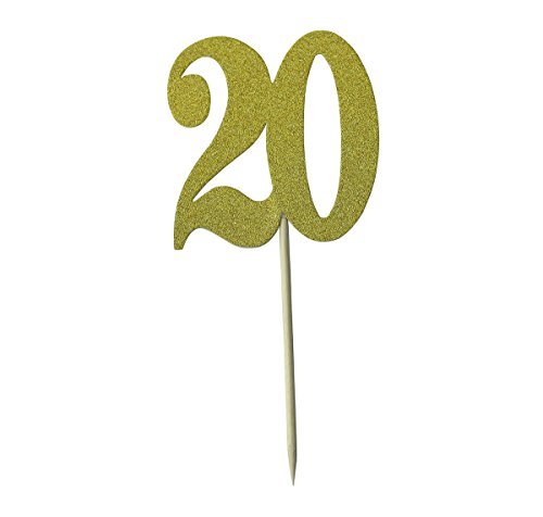 Easthors Lot of 12 20th Birthday Decorations Anniversary Cake Cupcake Topper Gold by Easthors