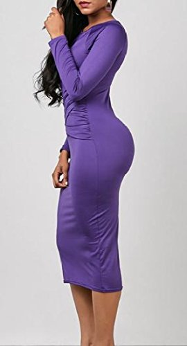 Cross Womens Knee Solid Bodycon Solid Sexy Dress Length Comfy Purple Mid 7dqYw7