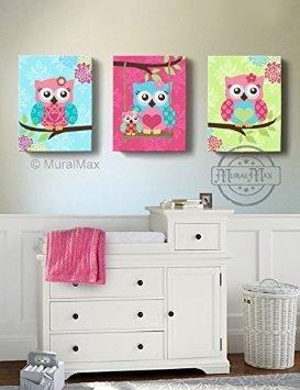 MuralMax - The Owl Family Sitting On A Branch - Nursery Décor - Set of 3 - Size - 20 x 24 by MuralMax