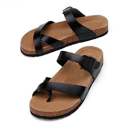 Femme Unisexe Sandales Liège en Noir ZongSen Tongs Plates Chaussures Homme Adulte Sandales Chaussures vEwSqYTf