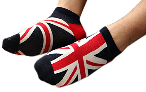 World National Flag (AnVei-Nao Men Boy World National Flag Soft Cotton Low Cut Ped Crew Socks 6 Pairs British Flag)