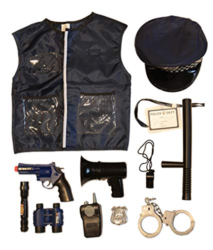 13 Pcs Deluxe Police Costume - Kids Police Uniform Dress Up and Role Play Set, for Detective, Police Officer, Swat Team, Halloween, Theater and Dress Up ()