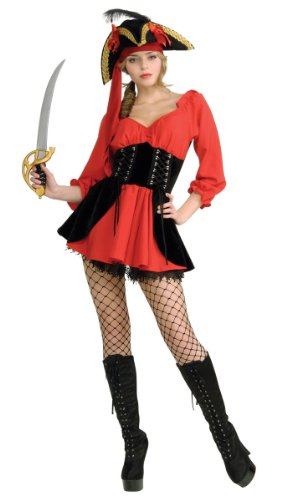 Wench Costumes Pirate Lady Dress (Secret Wishes Women's Sassy Pirate Wench Costume Dress, Red/Black,)