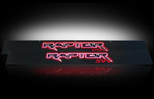Ford 09-14 SVT RAPTOR Billet Aluminum Door Sill / Kick Plate (2pc Kit Fits Driver & Front Passenger Side Doors Only) in Black Finish - RAPTOR in RED (Billet Sill Plates)
