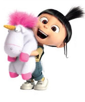 Agnes' Unicorn is a fluffy plush-unicorn that Agnes received at Super Silly Fun Land. She later sold it to make money when Gru and Lucy lost their jobs at the AVL. After Edith disintegrated Agnes' first one, Tim, Mark, and Phil were sent to get Agnes a new unicorn; though they came back with a.