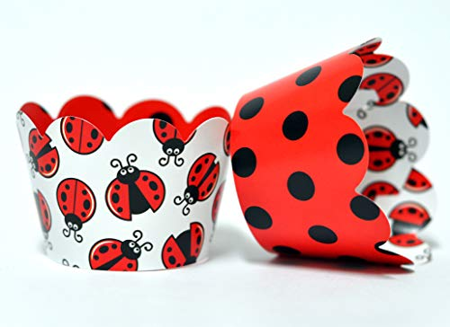 Ladybug Cupcake Wrappers for Kids Birthday Parties, Baby Showers, and School Events. Set of 24 Reversible cute Ladybug pattern Cup Cake Holder Wraps. Red, Black, White