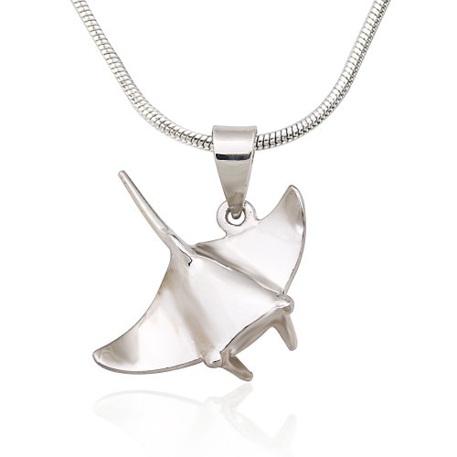 925 Sterling Silver Ocean Stingray Fish Pendant on Alloy Necklace Chain, 18 inches