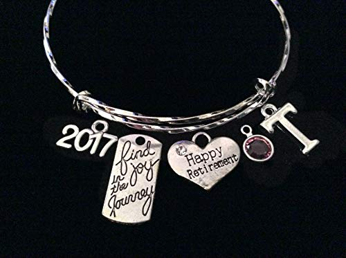 Personalized Silver Happy Retirement Find Joy in The Journey Flip Flop Charm Silver Adjustable Expandable Bracelet Twisted Wire Bangle 2017 2018 2019 2020 Birthstone ()