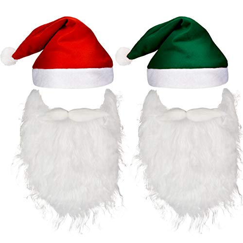 Pangda 4 Pieces Christmas Holiday Set Includes 2 Pieces Santa Beards, 2 Pieces Christmas Hats for Christmas Holiday Party for $<!--$9.99-->