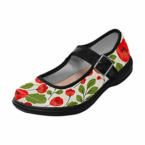 Interestprint Womens Komfort Mary Jane Lägenheter Tillfälliga Promenadskor Multi 14