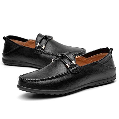 los Color 2018 Color Mocasines el Ocio para 47 en mocasín EU Cuero tamaño resbalón Minimalism 44 Hombre Zapatos de tamaño Mocasines hasta sólido Hombres Negro shoes Shufang de de xOXw88