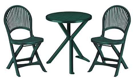 Sat tavolino e 2 sedie per giardino/terrazzo/balcone in plastica ...