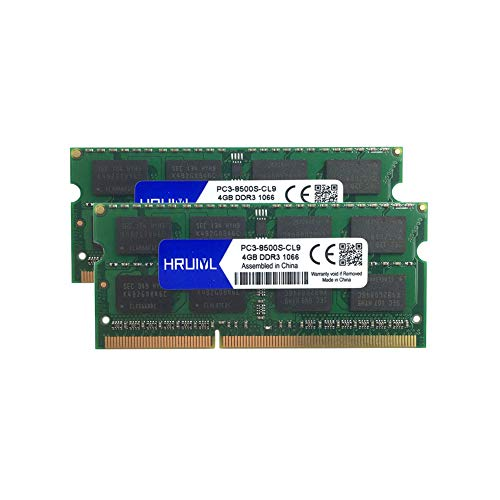HRUIYL for Apple 8GB Kit (2X 4GB) DDR3 1067MHz / 1066MHz 1067/1066 PC3-8500 PC3-8500s SODIMM Memory RAM for MacBook, MacBook Pro, iMac, Mac Mini A1342 A1278 A1286 A1297 A1224 A1225 A1311 A1312 A1283