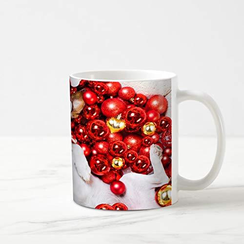 Ahawoso Coffee Tea Mug 11 Ounces Bauble Red Treat Jack Russell Terrier Dog Selfie Santa Claus Christmas Holidays Advent Ball 11Oz Ceramic Tea Cups Gift Great Boss Coworker Friend Present